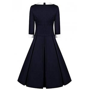 High Waisted Fit and Flare Vintage Dress - PURPLISH BLUE 2XL
