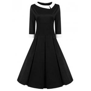 High Waisted Fit and Flare Vintage Dress - Black - S