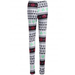 Skinny Geometric Print Christmas Leggings -