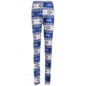 Skinny Geometric Print Christmas Leggings - Blue - Xl