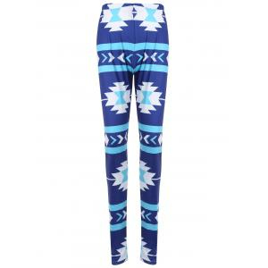Geometric Print Skinny Christmas Leggings - Blue - Xl
