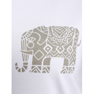 Raglan Sleeve Elephant Print Hoodie - LIGHT GREEN XL