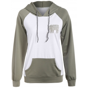 Raglan Sleeve Elephant Print Hoodie - Light Green - S