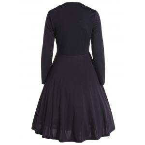 Vintage Color Block Long Sleeve Pin Up Dress -