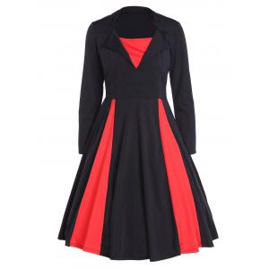 Vintage Color Block Long Sleeve Pin Up Dress