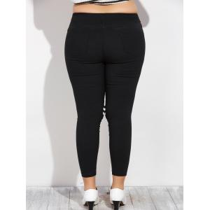 Plus Size Cut Out Skinny Pencil Pants - BLACK 5XL