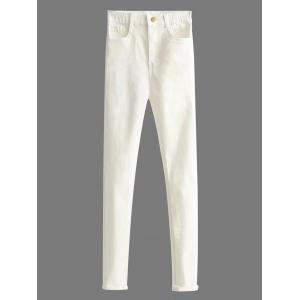 Casual Skinny Cigarette Pants - White - S