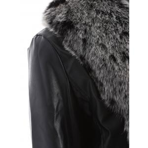 Open Front Faux Leather Jacket with Fur Collar -