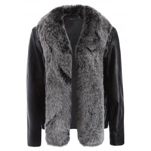 Open Front Faux Leather Jacket with Fur Collar