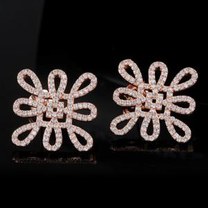 Rhinestone Chinese Knot Earrings - ROSE GOLD