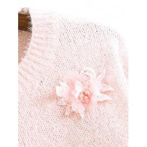 Floral Applique Sweater - PINK ONE SIZE