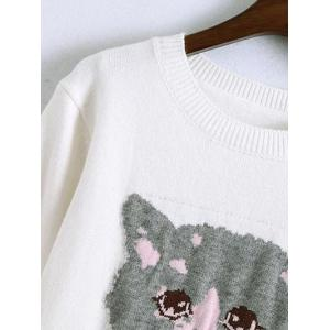 Kitten Jacquard Sweater With Frill -