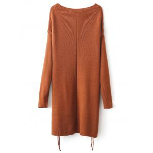 Side Slit Long Sweater - BROWN ONE SIZE