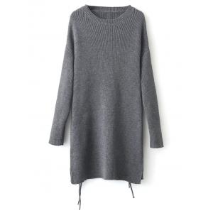 Side Slit Long Sweater - Gray - One Size