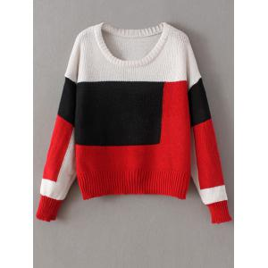 Chunky Color Block Sweater - Red - One Size