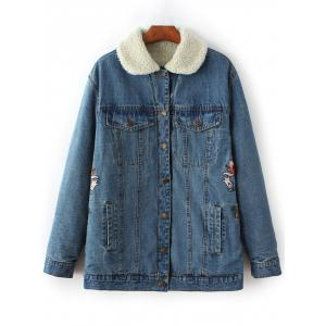 Embroidered Lamb Wool Denim Coat
