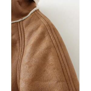 Faux Shearling Suede Peacoat -