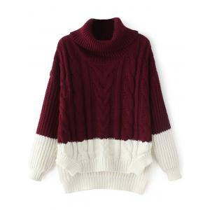 High-Low Color Block Cowl Neck Sweater - Wine Red - One Size