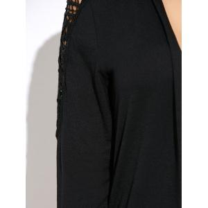 Skull Lace Insert Backless Asymmetric Cardigan - BLACK XL