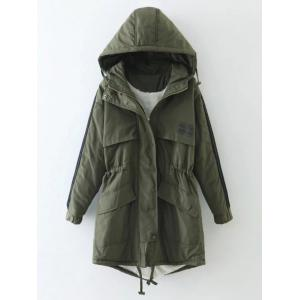 Hooded Drawstring Puffer Coat - Green - L