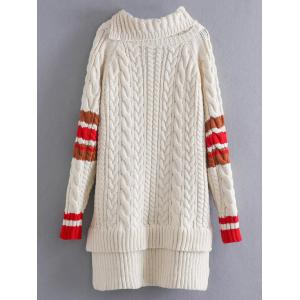 High Low Cable Knit Funnel Sweater - OFF WHITE ONE SIZE