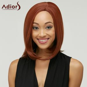 Faddish Medium Straight Side Parting Capless Auburn Brown Synthetic Wig For Women - AUBURN BROWN