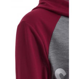 Letter Graphic Cropped Hoodie - GRAY/RED L