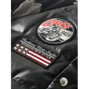 Zip Up Patch Design Printed Quilted Jacket - BLACK 3XL