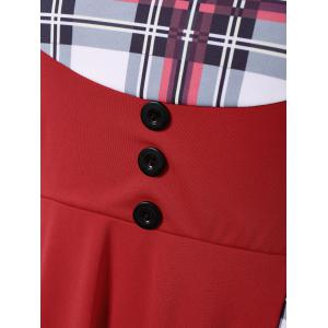 Plus Size Checked Midi Pin Up Dress With Sleeve - RED 5XL