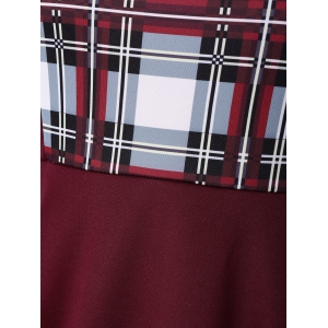 Sweetheart Neck Checked Plus Size Pin Up Dress - DEEP RED 5XL