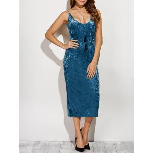 Spaghetti Strap Velvet Midi Dress - Blue - S