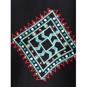 Crew Neck Geometric Embroidered Sweatshirt - BLACK L