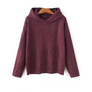 Hooded Long Sleeve Sweater - Purplish Red - One Size