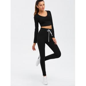 Twin-set crop top à manches longues et pantalon à cordon - Noir L