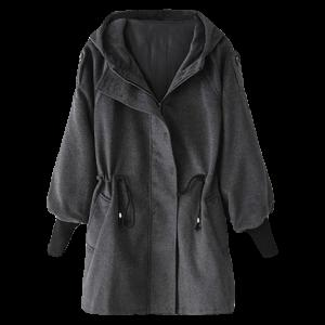 Hooded Drawstring Wool Coat - Deep Gray - M