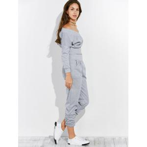 Open Back Off The Shoulder Tee and Pants Jogging Suit -