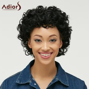 Pixie Short Cut Curly Side Bang Synthetic Wig - BLACK