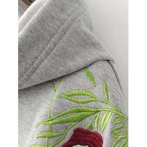 Flower Embroidered Drawstring Hoodie -