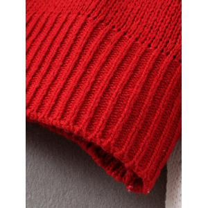 Chunky Color Block Sweater - RED ONE SIZE