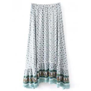 Bohemian Patterned High Low Maxi Skirt - WHITE M