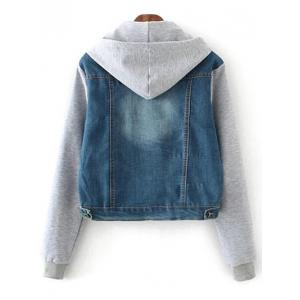 Hooded Bleach Wash Denim Panel Jacket -