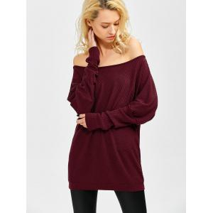 Bare Shoulder Batwing Sweater - WINE RED XL