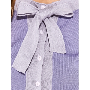Button Up Bowknot Cardigan - PURPLE ONE SIZE