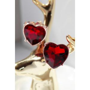 Ruby Heart Earrings - Red