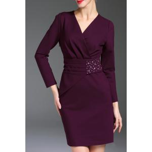 V Neck Rhinestone Long Sleeve Sheath Work Dress