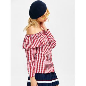Off The Shoulder Gingham Blouse -
