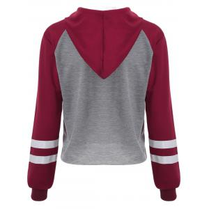 Letter Graphic Cropped Hoodie - GRAY AND RED XL