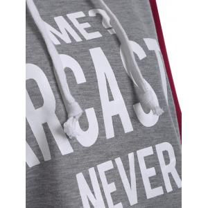 Letter Graphic Cropped Hoodie - GRAY AND RED L