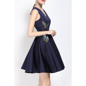 V Neck Embroidered Fit and Flare Dress - PURPLISH BLUE M
