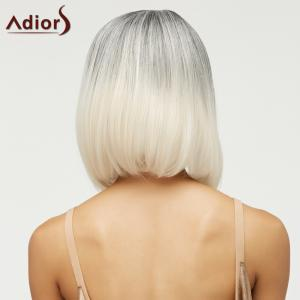 Trendy Short Straight Mixed Color Side Parting Women's Synthetic Hair Wig -
